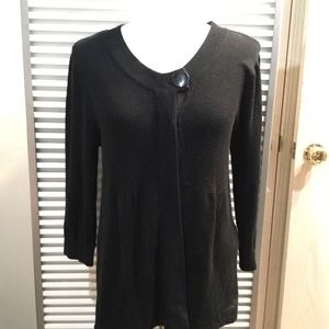 AB STUDIOS black cardigan with button at neckline